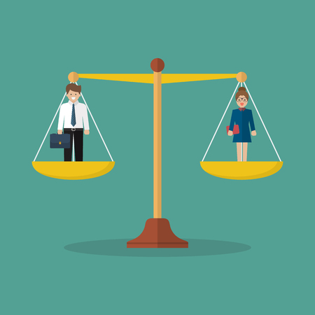 Businessman and woman balancing on scales. Social justice concept Standard-Bild - 110660671