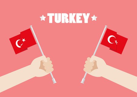 Republic Day of Turkey with Hands Holding Up Turkey Flags. Vector illustration Standard-Bild - 110660672