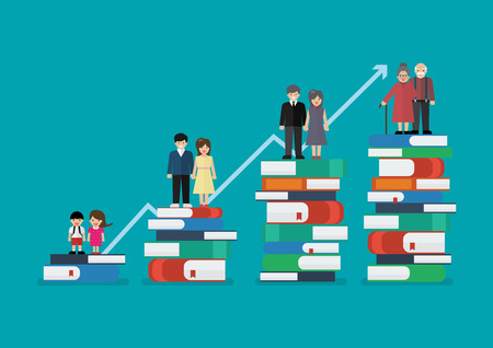 Development of people standing on a lot of books. Knowledge concept vector illustration