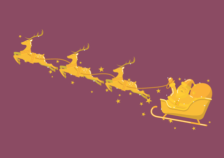 Golden Santa Claus with Reindeer Sleigh. Vector illustration Standard-Bild - 111346795