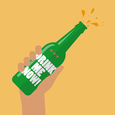 Hand holding beer bottle drink me now. Vector illustration