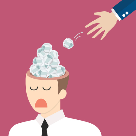 Hand throwing crumpled paper in businessman head. Unnecessary information concept vector illustration