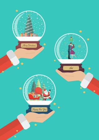 Santa claus hands are holding beautiful christmas glass balls. Vector illustration