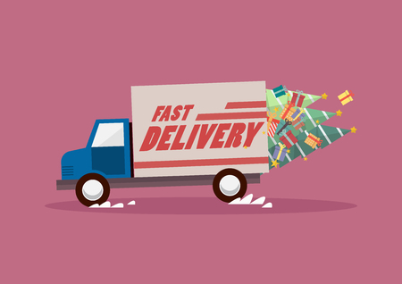 Fast delivery truck carrying christmas trees and gifts. Vector illustration 向量圖像