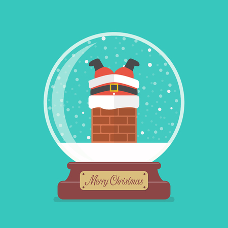 Merry christmas glass ball with Santa claus stuck in the chimney. Vector illustration 版權商用圖片 - 127471877