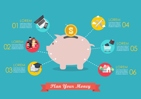 Plan your money infographic. Vector illustration