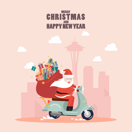 Santa Claus with a gift sack riding a scooter in big city. Vector illustration 版權商用圖片 - 127471879