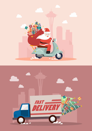 Christmas delivery service by truck and motorbike. Vector illustration 向量圖像