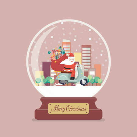 Merry christmas glass ball with Santa claus stuck in the chimney. Vector illustration