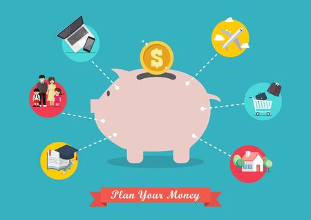 Piggy bank saving money portion for life. Vector illustration 向量圖像