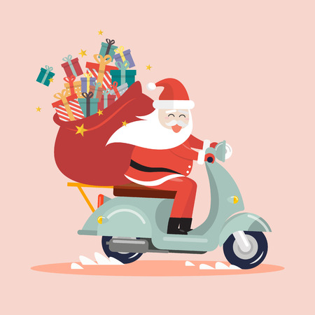 Santa Claus with a gift sack riding a scooter. Christmas holiday theme design element for greeting cards