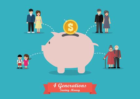 Cuatro generaciones ahorrando dinero. Ilustración vectorial Ilustración de vector