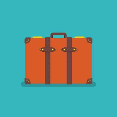 Vintage orange suitcase. Vector illustration 版權商用圖片 - 126298208
