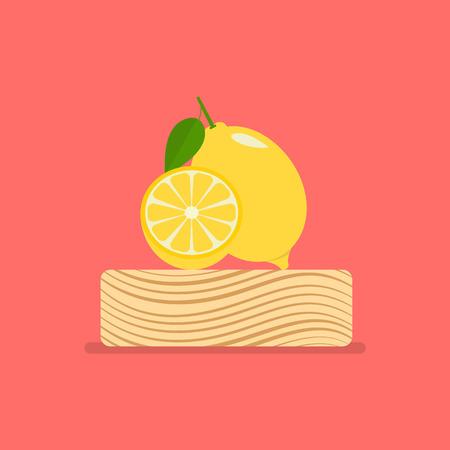 Fresh lemon on wood chopping block. Vector illustration