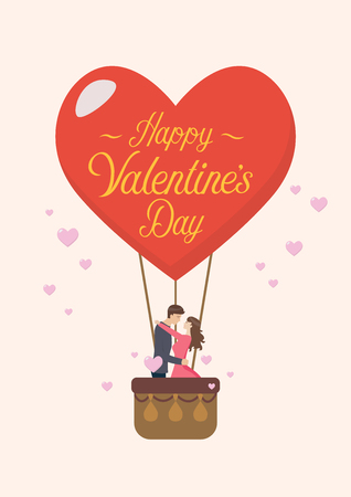 Happy Valentines day with couple are kissing on big heart balloon. Vector illustration