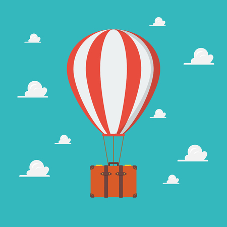 Hot air balloon with travel suitcase. travel concept vector illustration