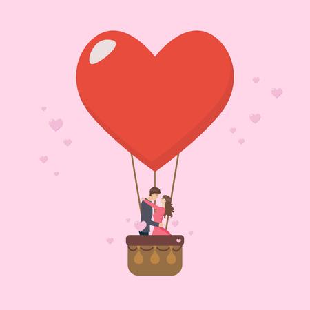 Loving couple are kissing on big heart balloon. Vector illustration