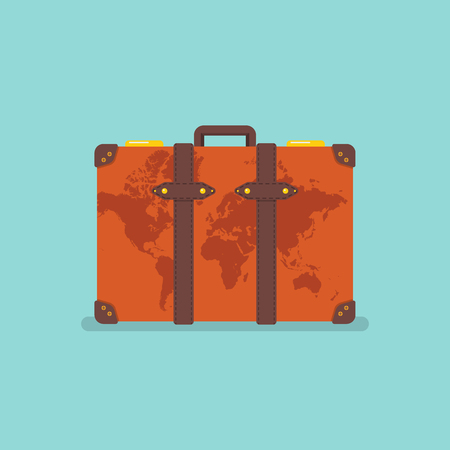 World map over vintage suitcase. Travel concept Vector illustration