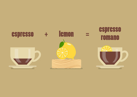 Espresso romano coffee recipe. Vector illustration