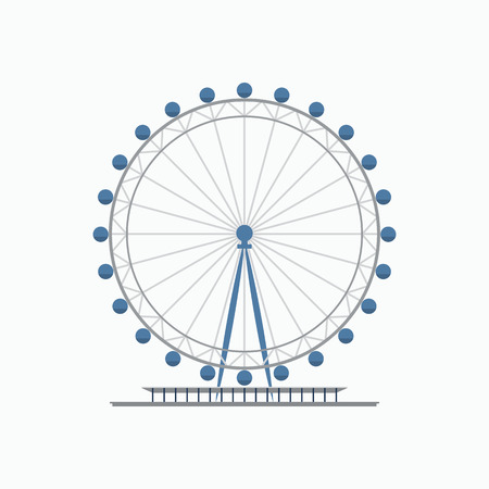 London eye ferris wheel. Flat style vector illustration. Tourist destination in London
