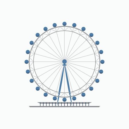 London eye ferris wheel. Flat style vector illustration. Tourist destination in London