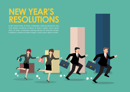 Businessman and woman with new year resolutions. Business concept