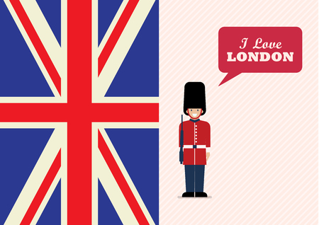 British Army soldier with word I love London. Flat style vector illustration. Greeting card