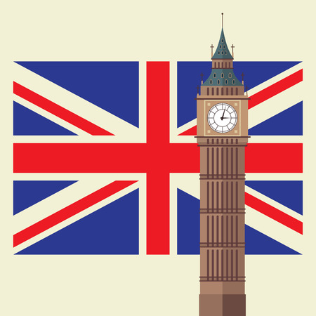Big Ben with United Kingdom flag. Vector illustration