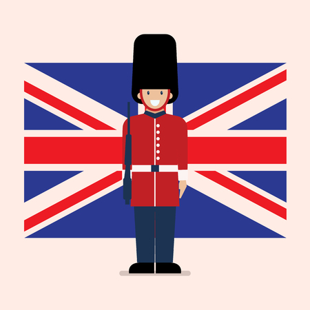British Army soldier with United Kingdom flag background. Flat style vector illustration.
