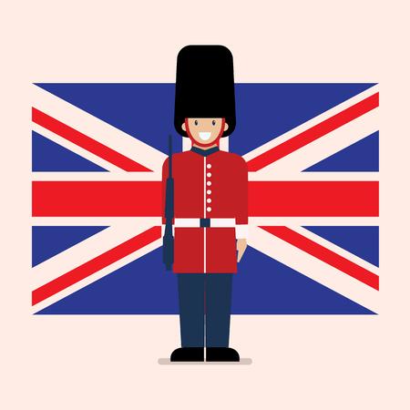 Soldado del ejército británico con fondo de bandera de Reino Unido. Ilustración de vector de estilo plano.
