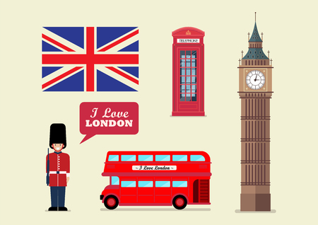 London tourist landmark national symbols. Vector illustration.