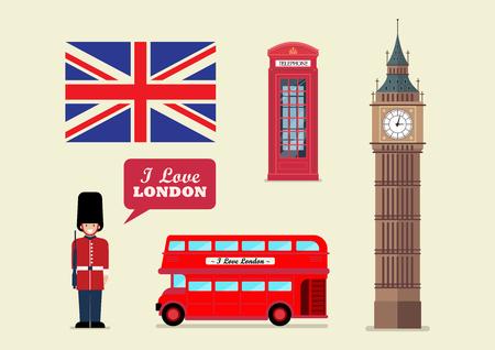London tourist landmark national symbols. Vector illustration.