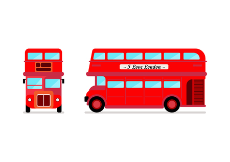 London city bus Front and Side view. Vector illustration Stock Illustratie