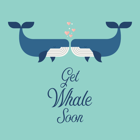 Get whale soon word with cute whales. greeting card