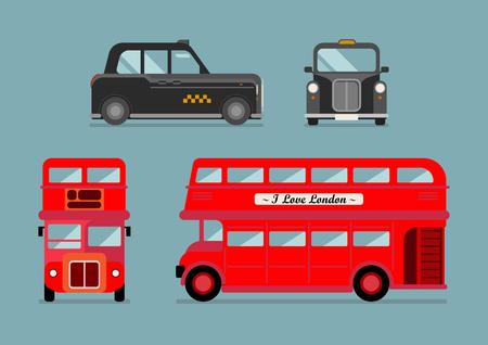 Londoner Stadtbus und Taxi-Set. Vorder- und Seitenansicht. Vektor-Illustration