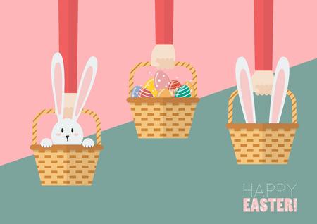 Hands are holding Easter baskets. Easter greeting card Illusztráció