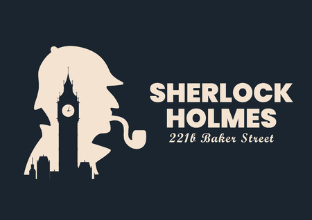 Sherlock holmes silhouette with Big Ben London Banner sign. Vector illustration