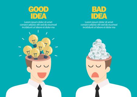 Bright idea and junk idea in businessmen head. Business idea concept vector illustration