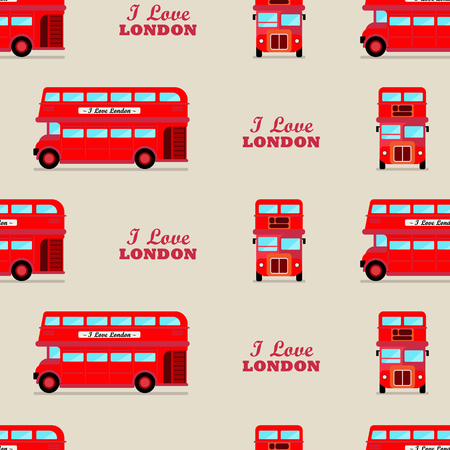 London city bus seamless pattern. Vector illustration.