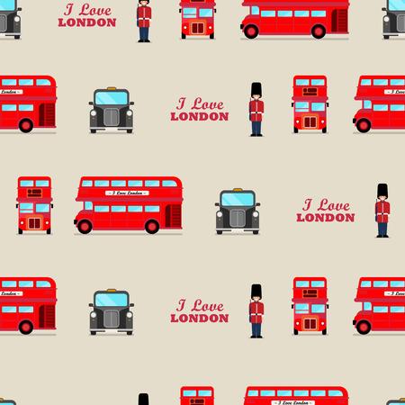 London iconic symbols seamless pattern. Vector illustration.
