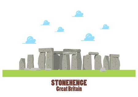 Stonehenge vector illustration. Flat style graphic design
