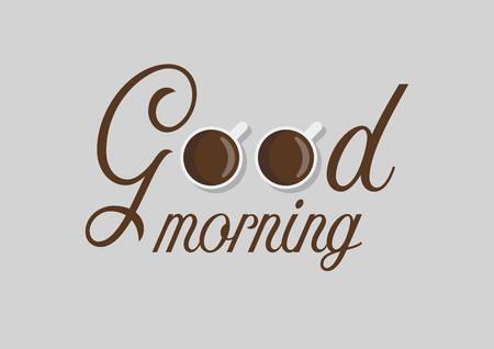 Kopjes koffie met goedemorgen woord. ontwerp in platte stijl Vector Illustratie