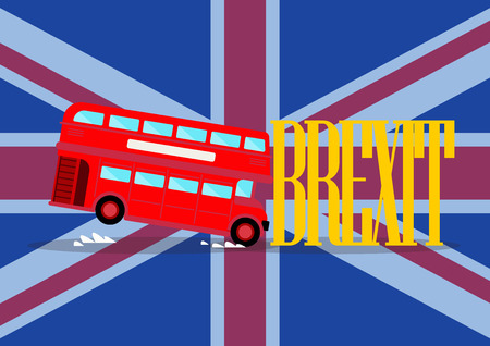 London city bus crashing with brexit word on united kingdom flag background. Brexit concept Иллюстрация