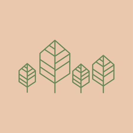 Trees line minimalist icon. outline vector illustration 向量圖像
