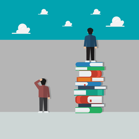 Smart people standing on a lot of books and stupid people stand against the wall. Knowledge education concept vector illustration