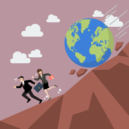 Businessman running away from planet earth that is rolling down to him. Climate change concept