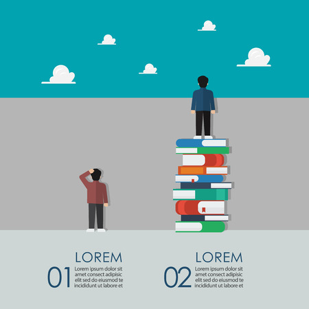 Smart people standing on a lot of books and stupid people stand against the wall infographic. Knowledge education concept vector illustration Illustration