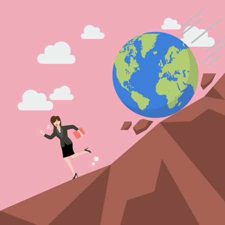 Woman running away from planet earth that is rolling down to her. Climate change concept Ilustrace