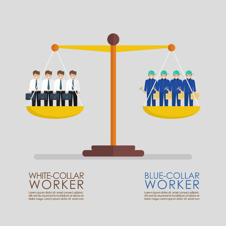 Comparison between white and blue collar workers on balance scale infographic. Busiess concept 向量圖像
