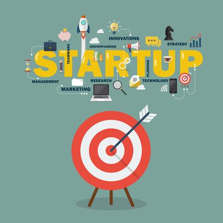 Big target startup concept. vector illustration